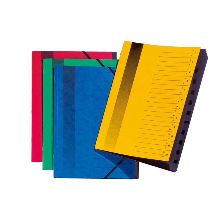 Sorteringsmapper Pagna grøn m/12 rum m/elastik karton