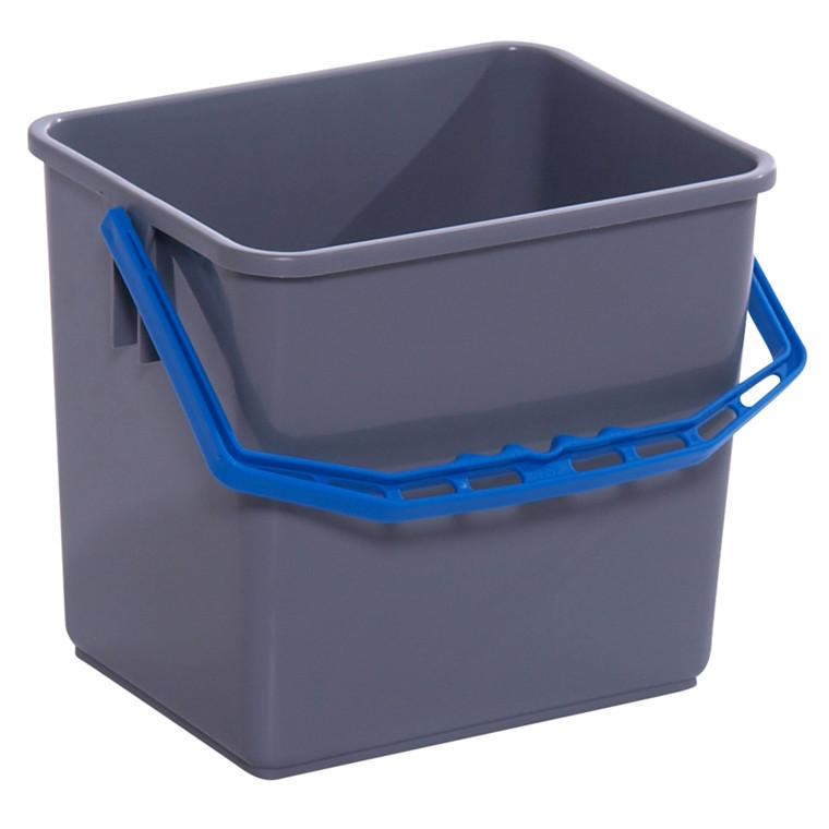 Spand, Tina Trolleys, grå, med blå hank, 6 l,