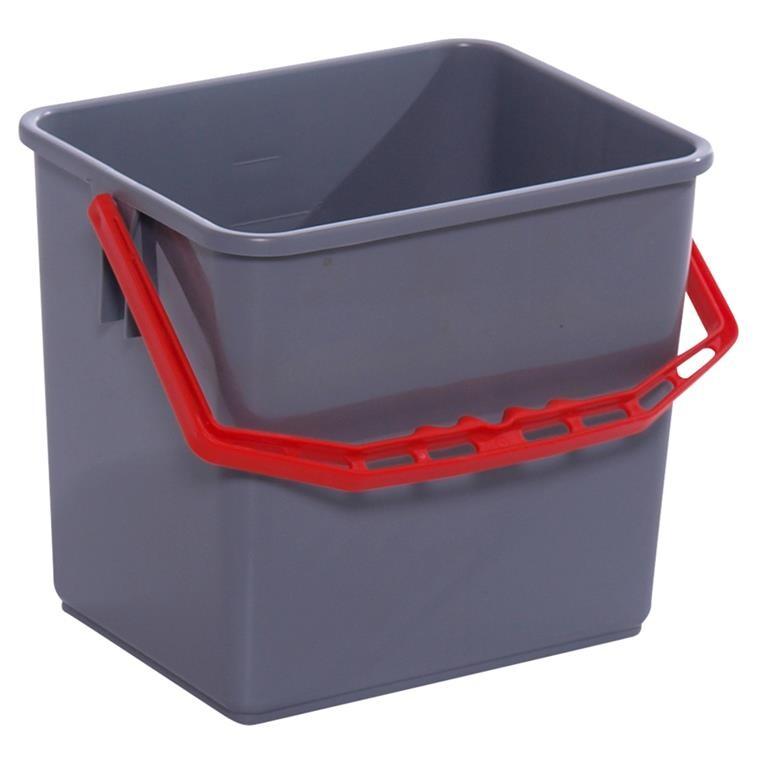 Spand, Tina Trolleys, grå, med rød hank, 6 l,