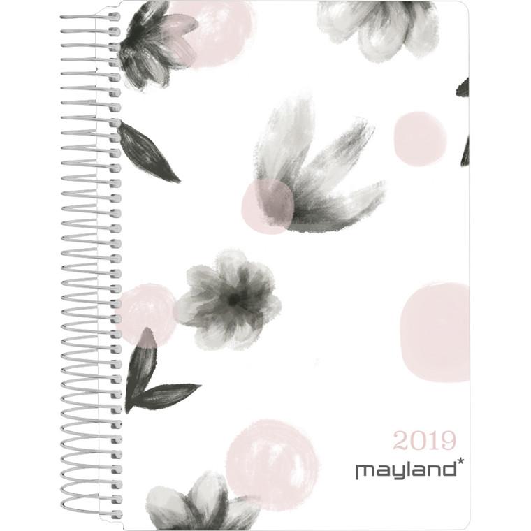 Spiralkalender 2019 Mayland blomster soft touch trend 12 x 17 cm 1 dag/side - 19 2100 50