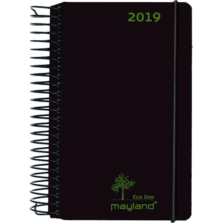 Spiralkalender Mayland 2019 ECO line sort fiberpap 12 x 17 cm 1 dag/side - 19 2655 00
