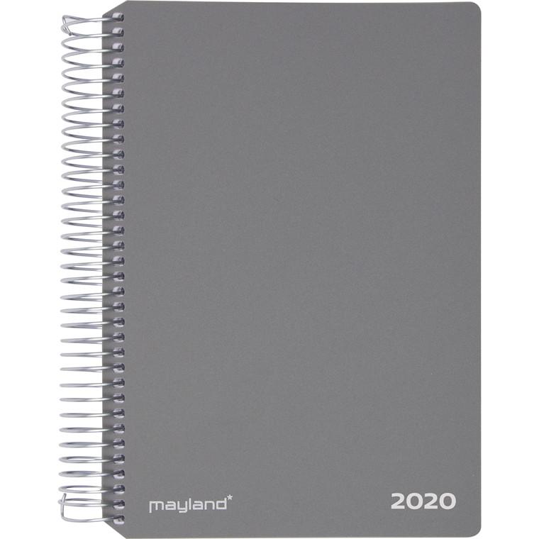 Spiralkalender grå hård PP 12x17cm 1 uge/side 20 2020 00