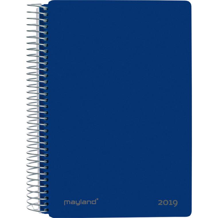 Mayland Spiralkalender 2019 hård PP blå 12 x 17 cm 1 dag/side - 19 2100 20