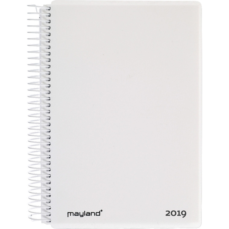 Kalenderbog 2019 Mayland hård PP hvid 12 x 17 cm 1 dag pr. side - 19210010