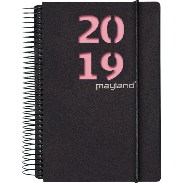 Spiralkalender 2019 Mayland hård PP sort med 2 farvede blade 12 x 17 cm 1 dag/side - 19 2080 40