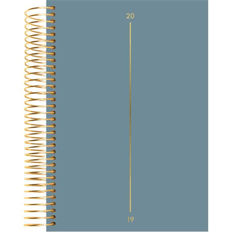 Mayland 2019 Spiralkalender tekstilpræg blå 12 x 17 cm 1 dag/side - 19 2080 10