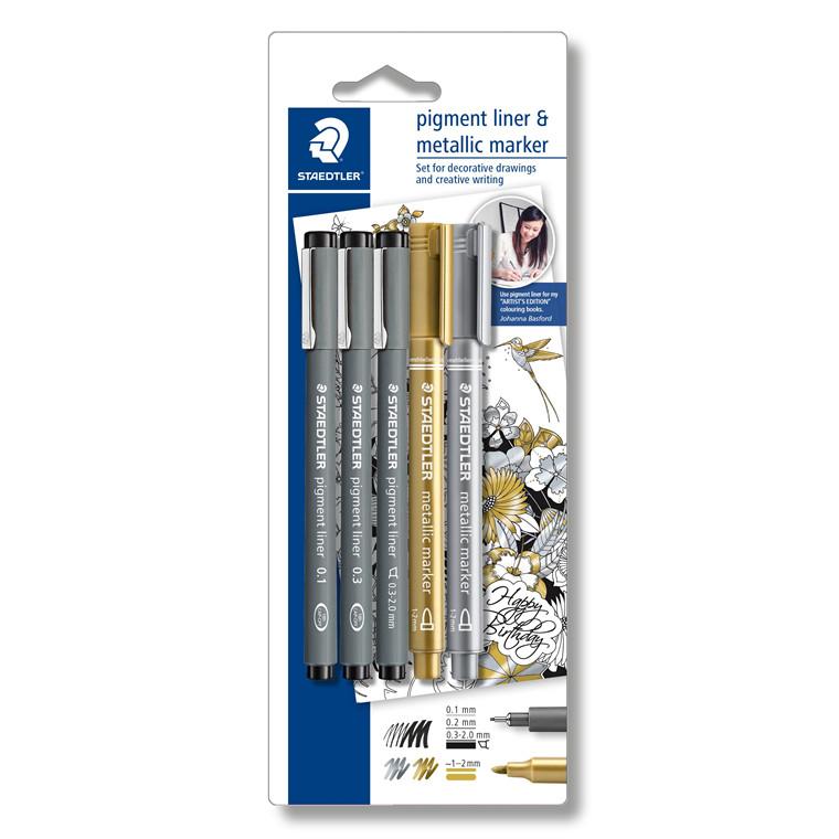 Staedtler Fineliner pigment liner sølv/guld (3+2)