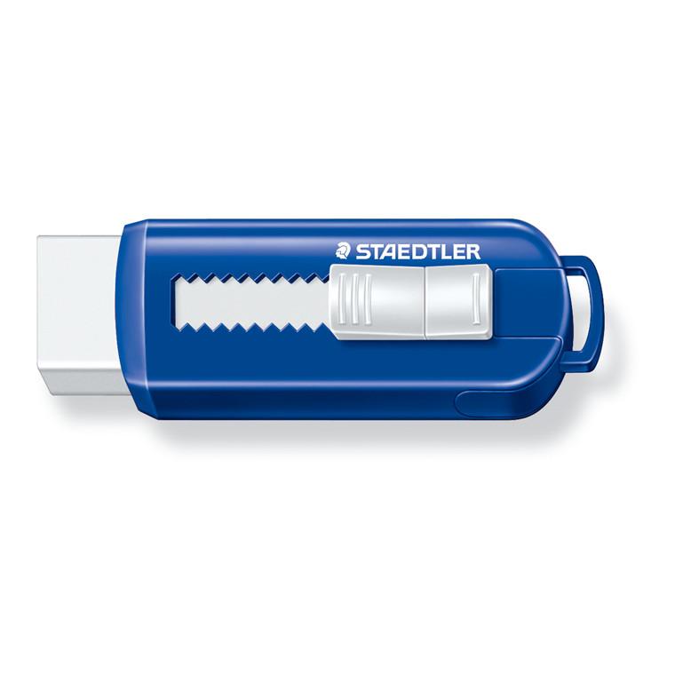 Staedtler Viskelæder PVC frit m/skub funktion blå/hvid