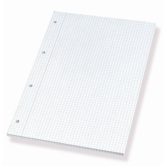 Standardblok A4 kvadreret med 4 huller - 100 ark