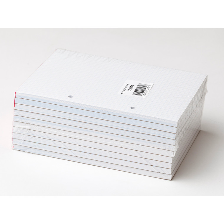 Standardblok - A5 kvadreret med 2 huller toplimet - 100 ark