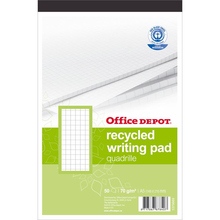 Standardblok - A5 med stub kvadreret genbrugspapir - 50 ark