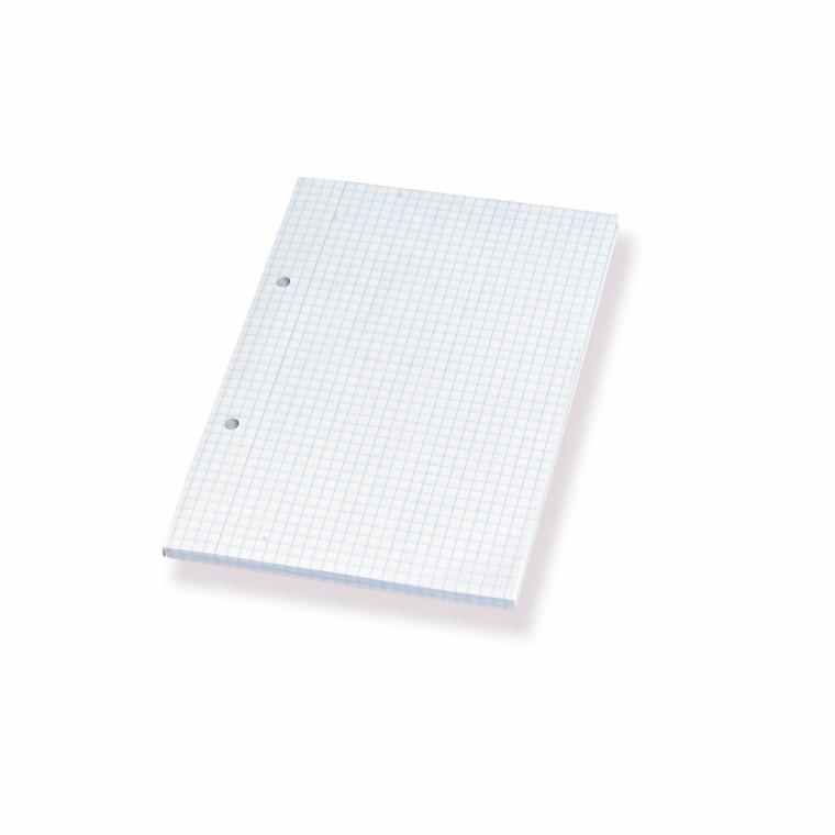Skriveblok - A5 kvadreret med 2 huller - 100 ark