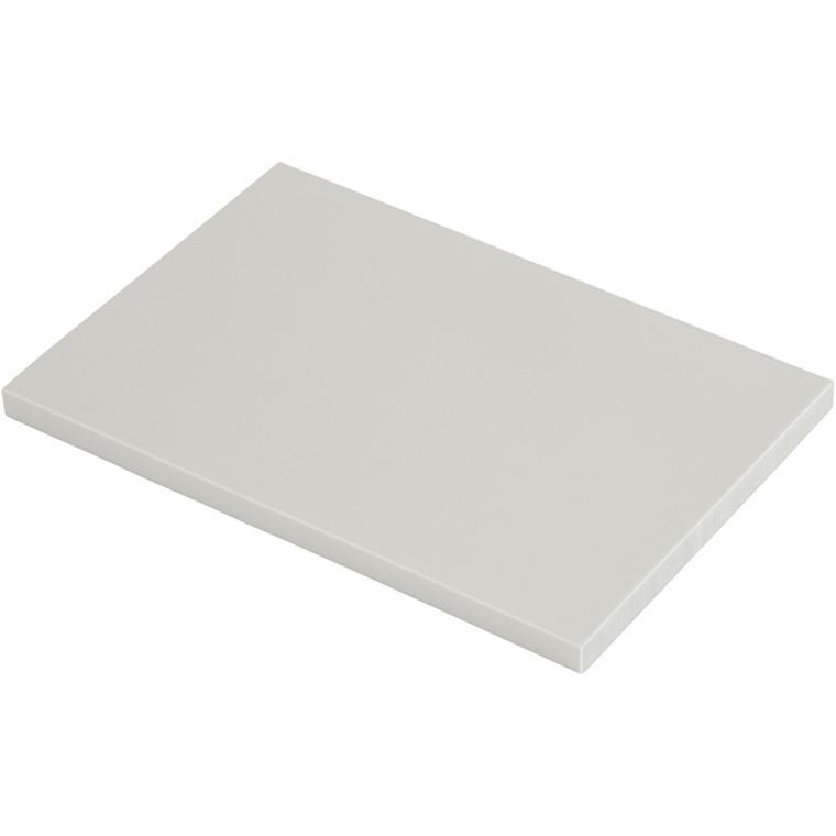 Stempelplade, str. 10x15,5 cm, tykkelse 0,8 cm, lys grå, 10stk.