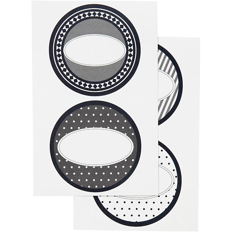 Stickers, 4 cm, Paris, 4 ass. ark