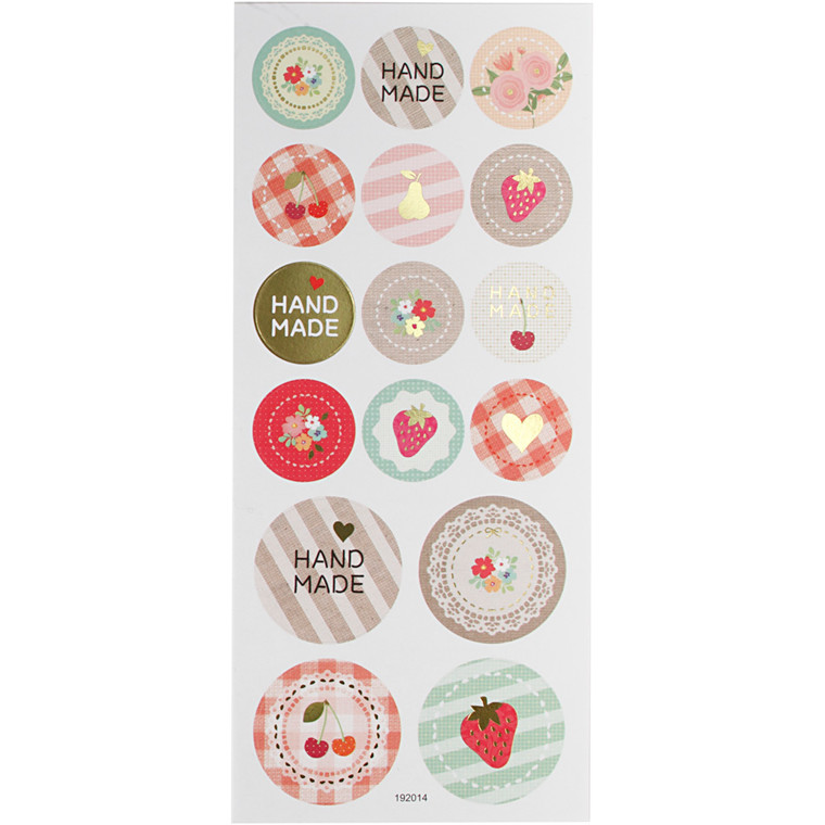 Stickers, ark 10x23 cm, ca. 16 stk., handmade, 1ark