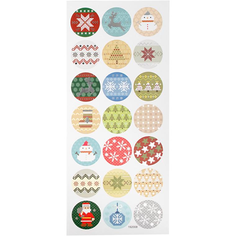 Stickers, ark 10x23 cm, ca. 21 stk., julebroderi, 1ark