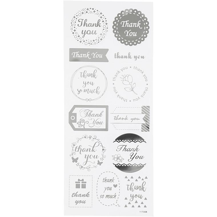 Stickers, ark 10x24 cm, ca. 13 stk., sølv, thank you, 1ark