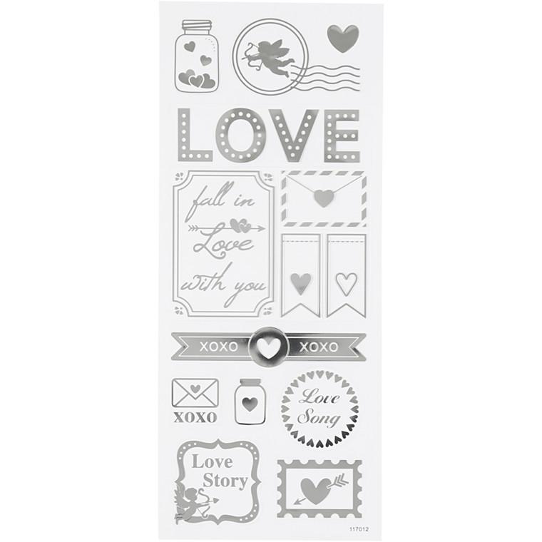 Stickers, ark 10x24 cm, ca. 14 stk., sølv, love, 1ark