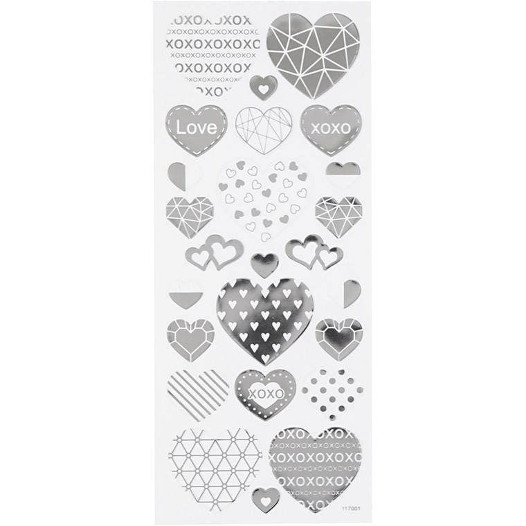 Stickers, ark 10x24 cm, ca. 25 stk., sølv, hjerter, 1ark