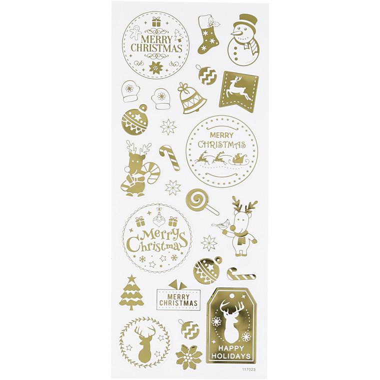 Stickers, ark 10x24 cm, ca. 26 stk., guld, jul, 1ark