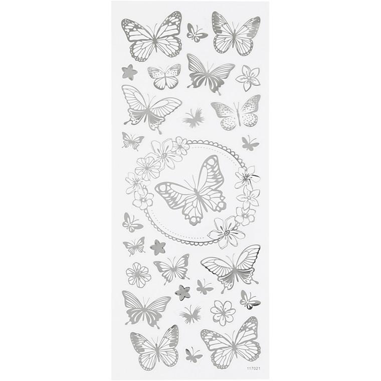 Stickers, ark 10x24 cm, ca. 28 stk., sølv, sommerfugle, 1ark