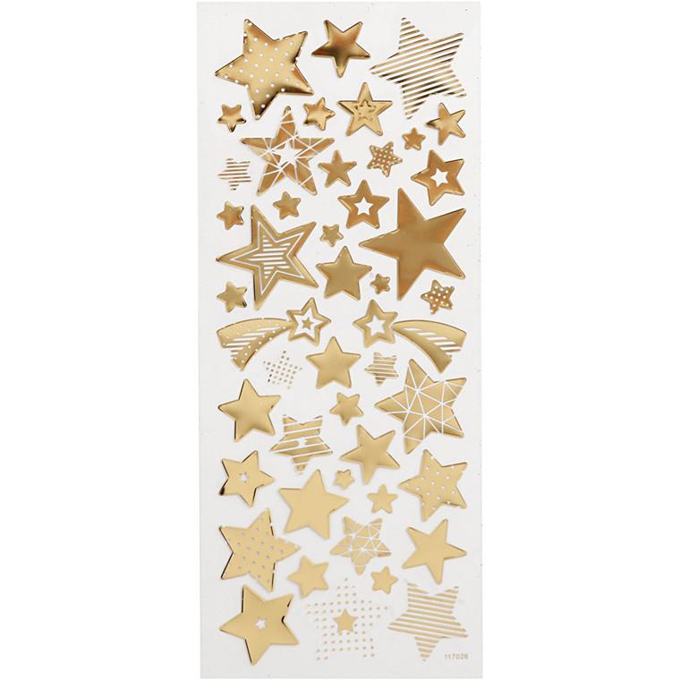 Stickers, ark 10x24 cm, ca. 52 stk., guld, stjerner, 1ark
