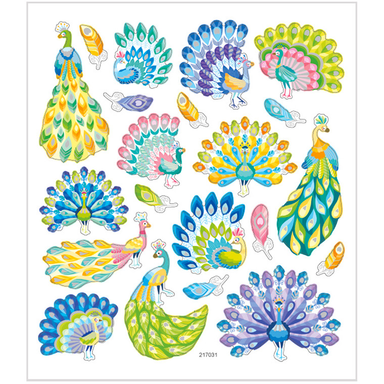 Stickers, ark 15x16,5 cm, 21 stk., påfugle, 1ark