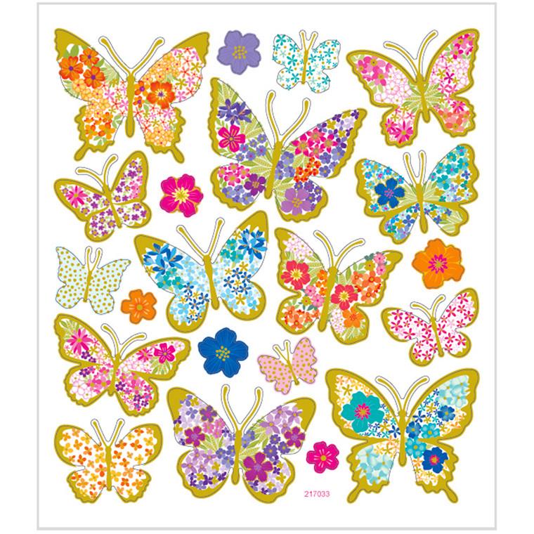 Stickers, ark 15x16,5 cm, 21 stk., sommerfugle, 1ark