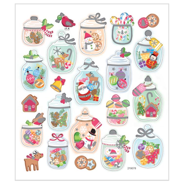 Stickers julestemning på glas  mat papir detaljer i glitter | 1 ark med 22 stk.