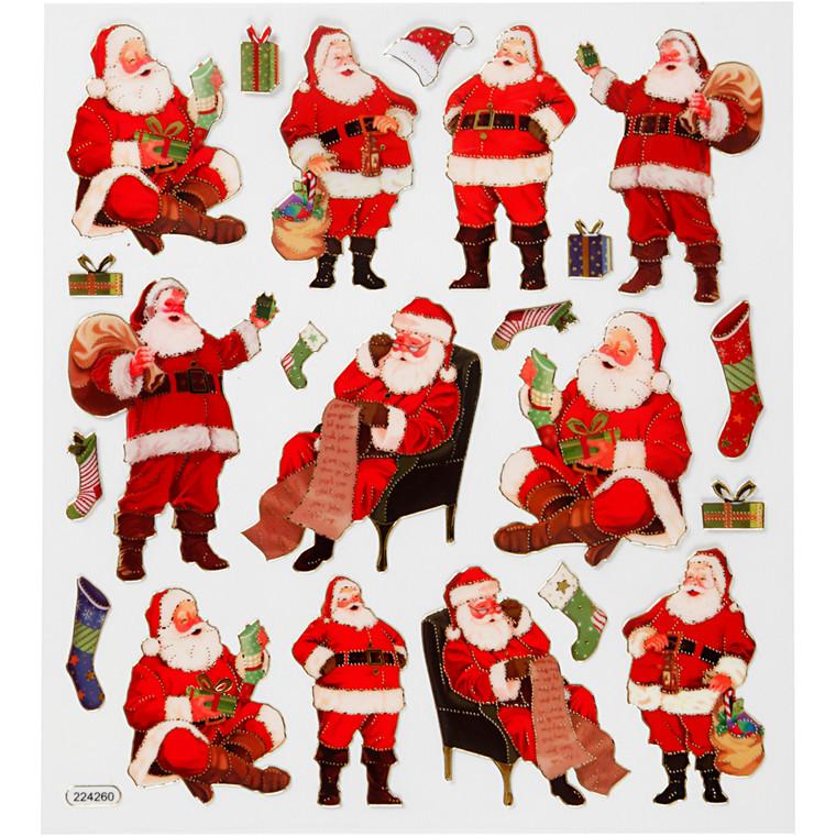 Stickers, ark 15x16,5 cm, 22 stk., klassiske julemænd, 1ark