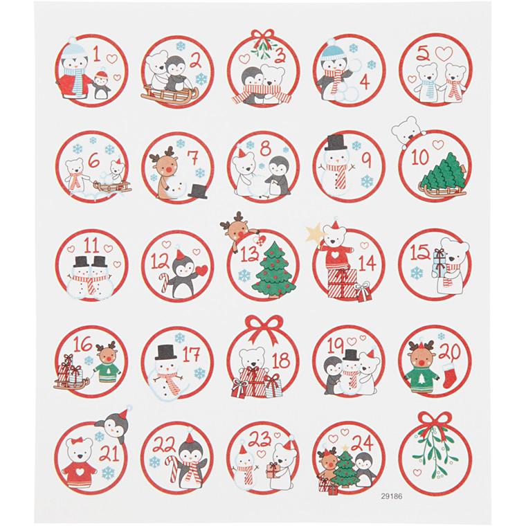 Stickers kalendertal polar af mat papir med detaljer i metalfolie  1 ark á 24 stk.