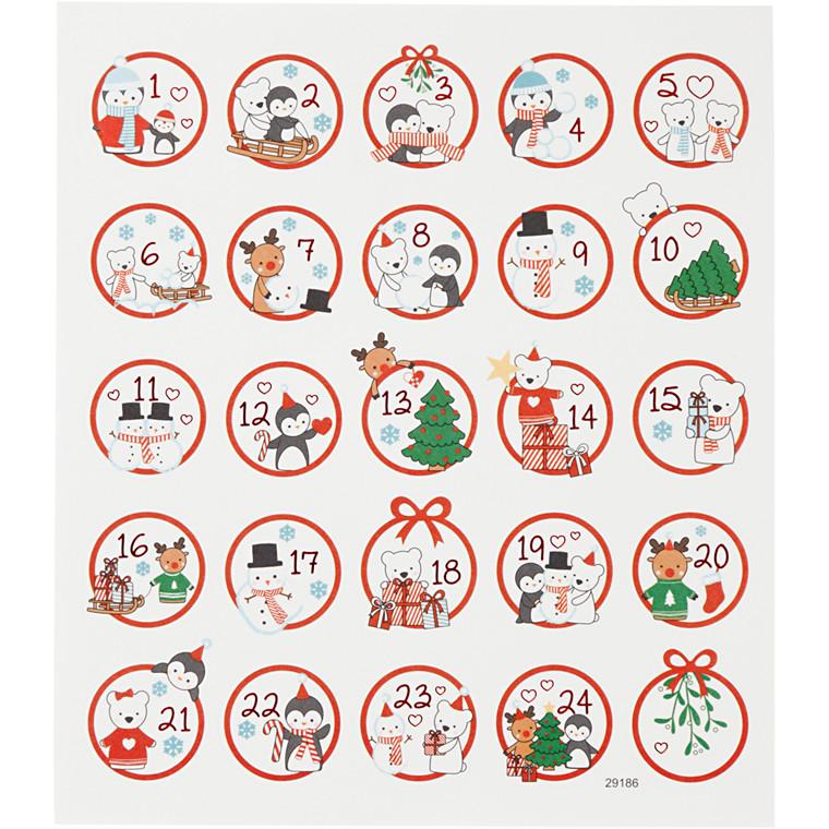 Stickers, ark 15x16,5 cm, 24 stk., polar sjov 1-24, 1ark