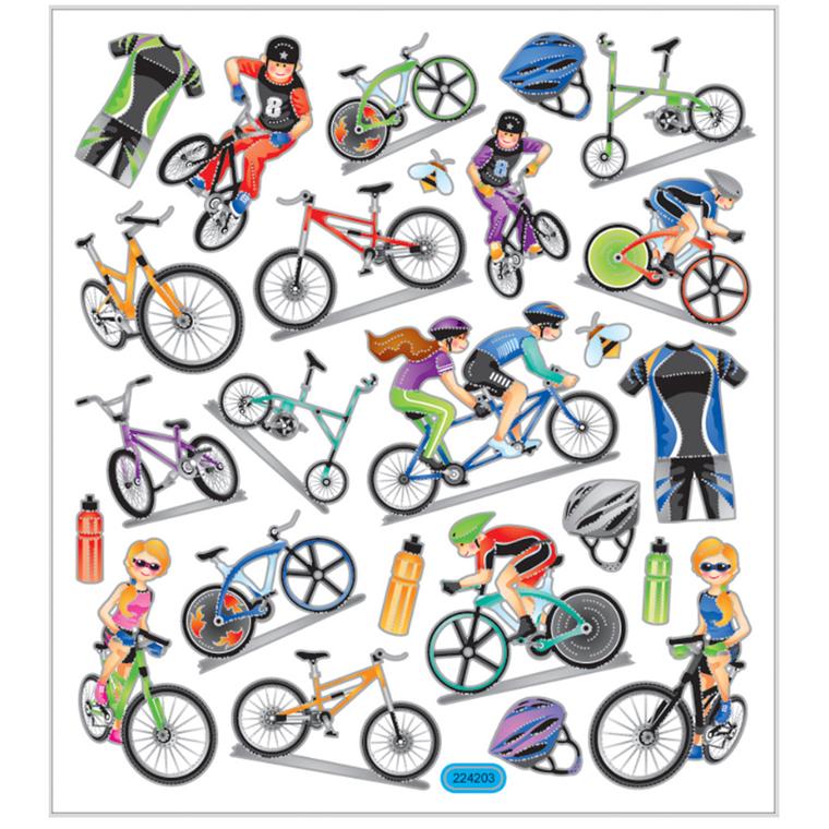 Stickers cykler transparent plastfolie med detaljer i metalfolie | 1ark med 25 stk.