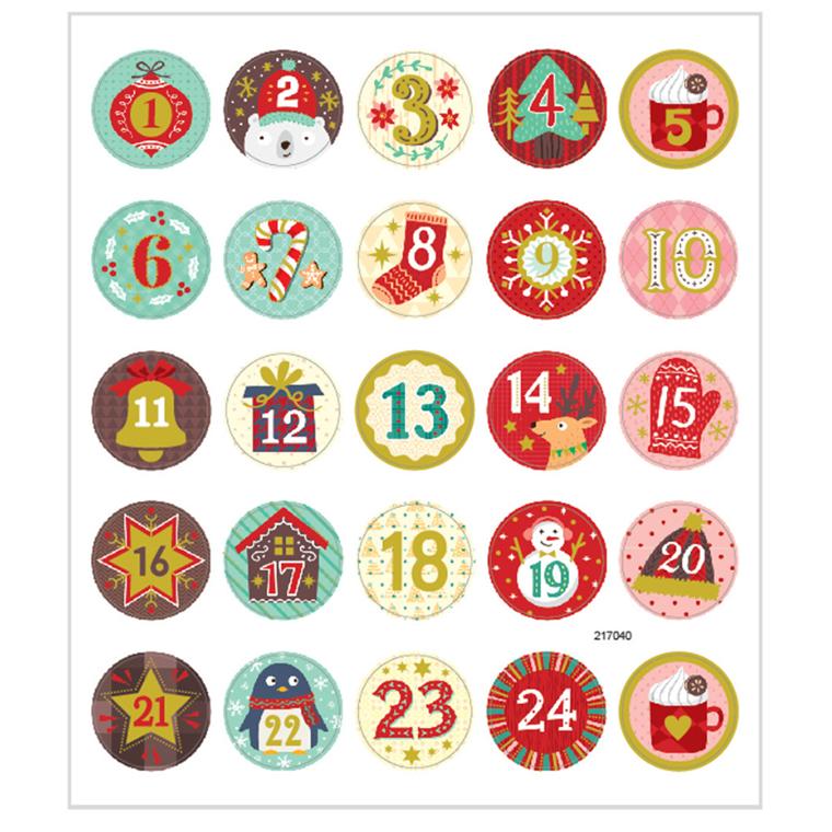 Stickers kalendertal mat papir med detaljer i metalfolie | 1 ark á 25 stk.
