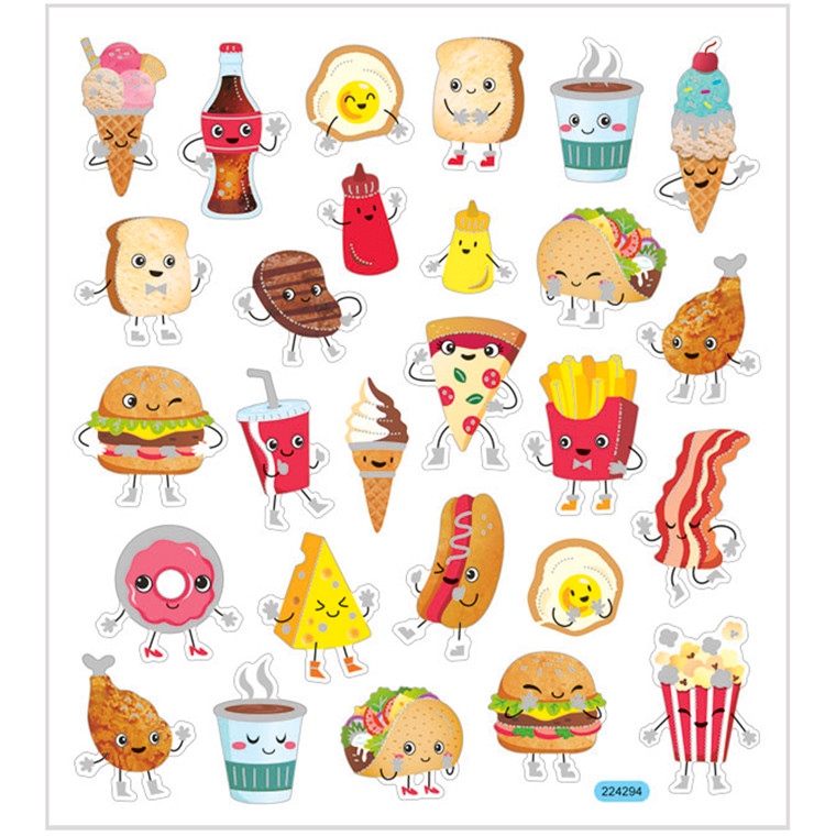 Stickers, ark 15x16,5 cm, 27 stk., fast food, 1ark