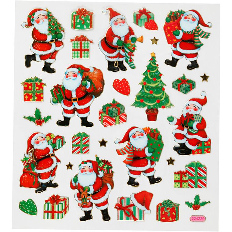 Stickers, ark 15x16,5 cm, 29 stk., klassiske julefigurer, 1ark