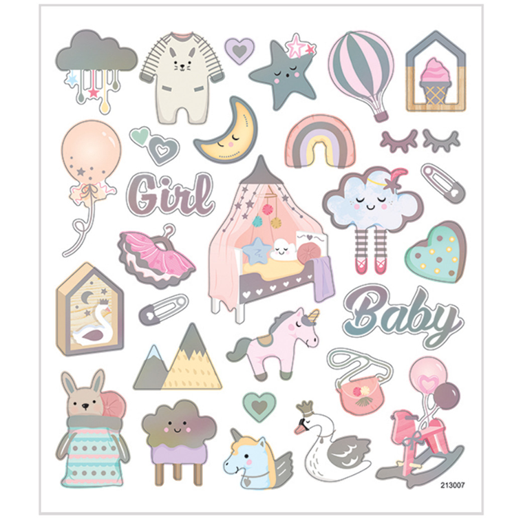 Stickers, ark 15x16,5 cm, 30 stk., baby girl, 1ark