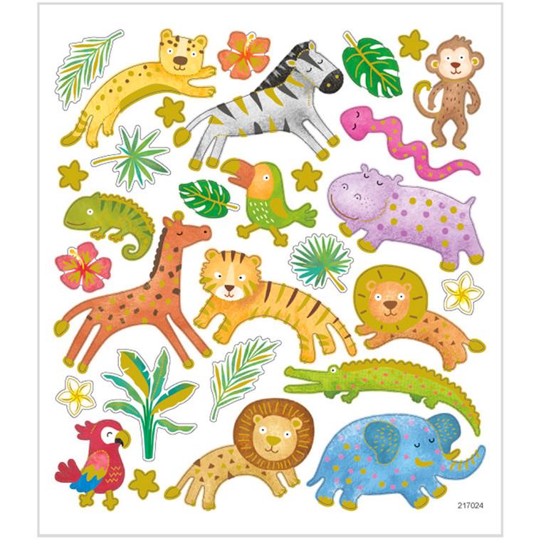 Stickers, ark 15x16,5 cm, 30 stk., safaridyr, 1ark