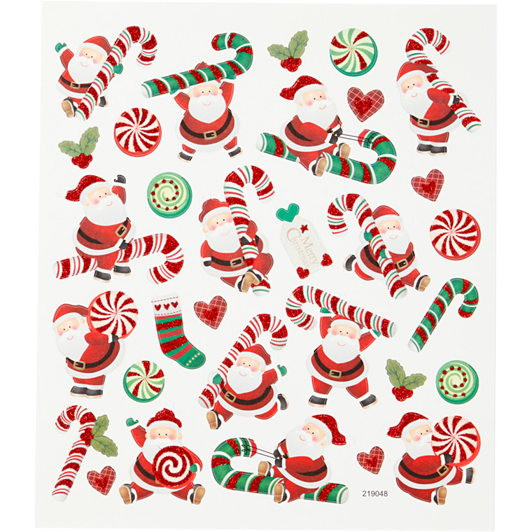 Stickers, ark 15x16,5 cm, 31 stk., julemand og sukkerstok, 1ark