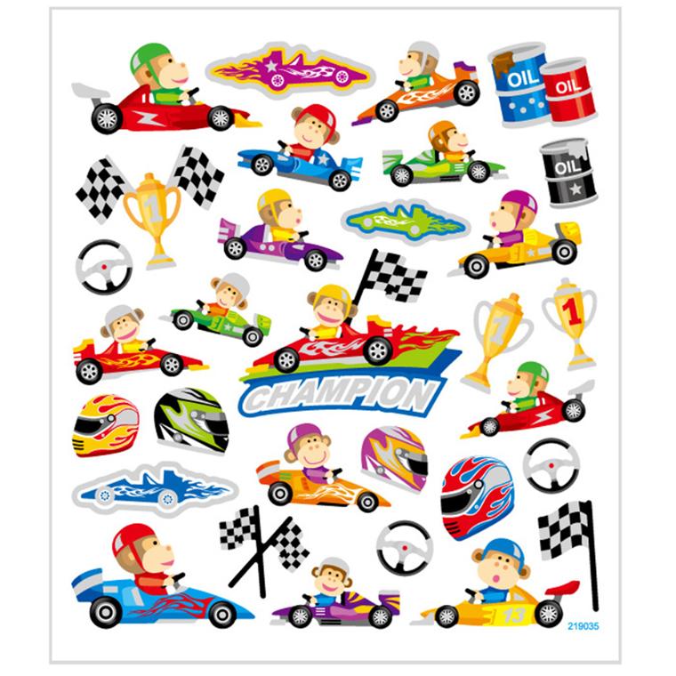 Stickers racerløb i mat papir med detaljer i glitter | 1 ark med 31 stk.