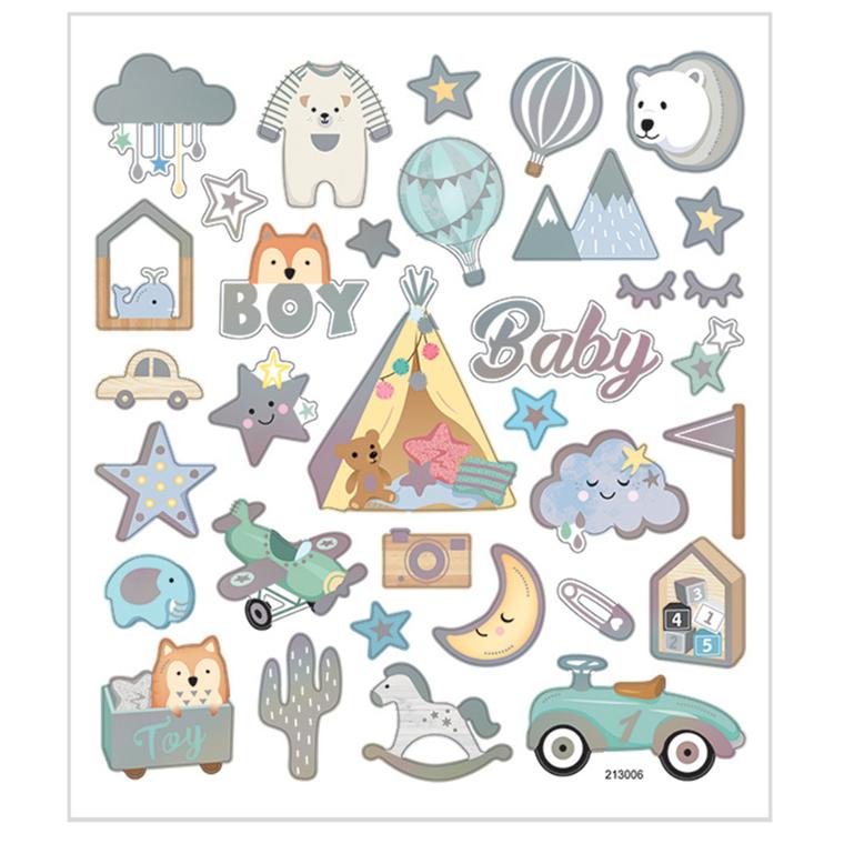 Stickers baby boy mat papir detaljer i metalfolie   1 ark á 32 stk.
