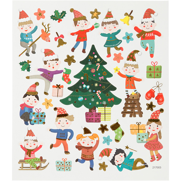 Stickers, ark 15x16,5 cm, 32 stk., børne jul, 1ark