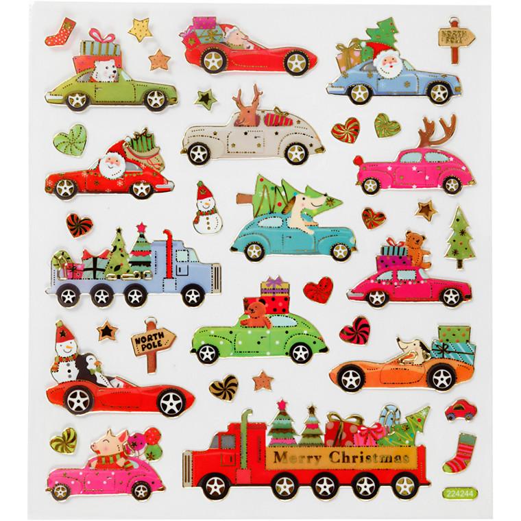Stickers, ark 15x16,5 cm, 34 stk., kører hjem til jul, 1ark