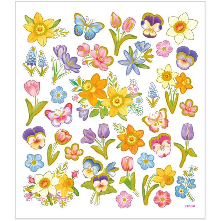Stickers, ark 15x16,5 cm, 37 stk., blomster, 1ark