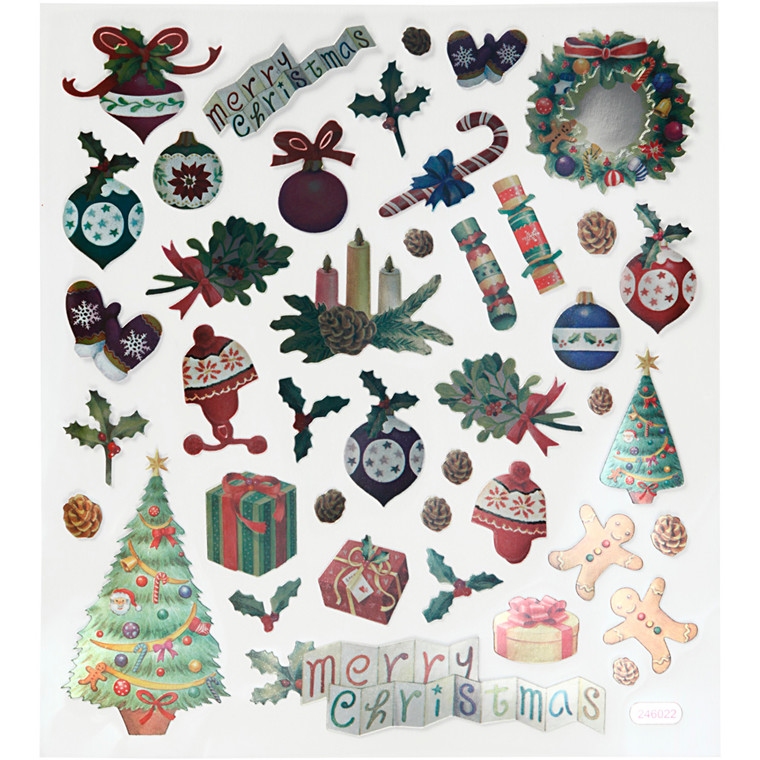 Stickers, ark 15x16,5 cm, 41 stk., gammeldags jul, 1ark