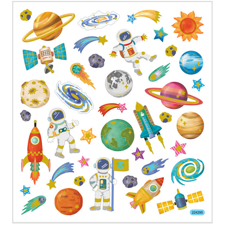 Stickers, ark 15x16,5 cm, 41 stk., rummet, 1ark