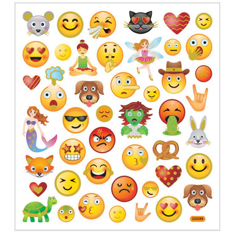 Stickers emojis i transparent plastfolie  | 1 ark med 46 stk.
