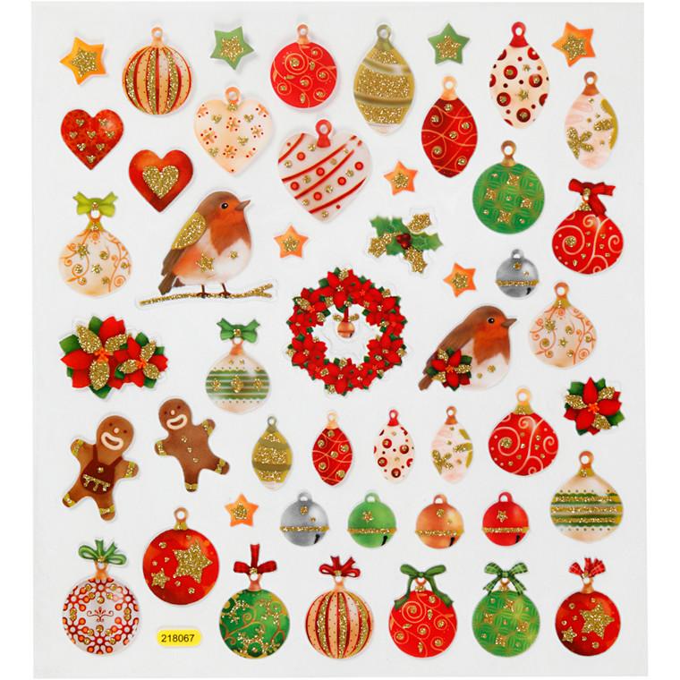 Stickers, ark 15x16,5 cm, 50 stk., julekugler og pynt, 1ark