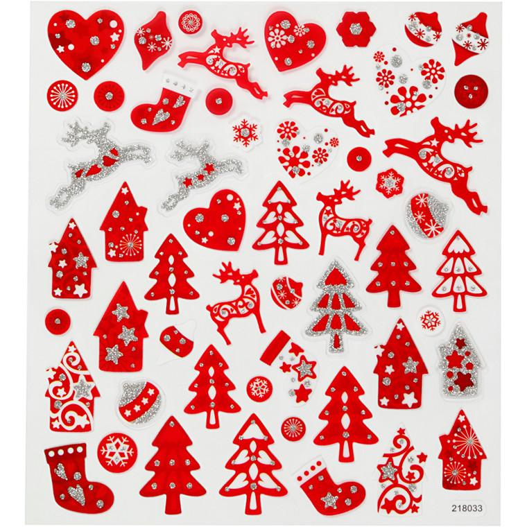 Stickers, ark 15x16,5 cm, 54 stk., rød/hvid jul, 1ark