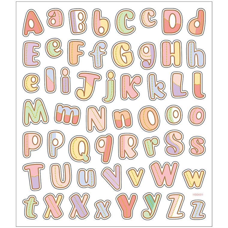 Stickers, ark 15x16,5 cm, 55 stk., alfabet, 1ark